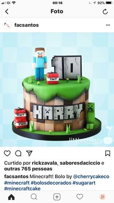 Minecraft Pau - Minecraft World Minecraft Cookies, Minecraft Birthday Cake, Minecraft Cake, 7th Birthday, Mine Minecraft, Cake Birthday, Big Cakes, Cakes For Boys, Cake Toppers