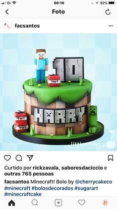 Minecraft Pau - Minecraft World Minecraft Cookies, Minecraft Birthday Cake, Minecraft Cake, Mine Minecraft, Big Cakes, Cakes For Boys, Love Cake, 10th Birthday, Celebration Cakes