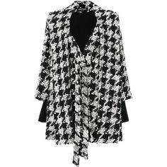 Balmain houndstooth cape coat (7 189 795 LBP) ❤ liked on Polyvore featuring outerwear, coats, black, blazer jacket, long sleeve coat, blazer coat, cape blazer and long blazer coat