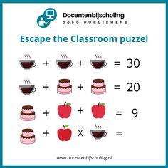 Training Escape the Classroom In een Escape the Classroom lost een groepje leerlingen een aantal spannende puzzels op. Ondertussen wordt er van alles geleerd; letterlijk spelenderwijs leren. Escape the Classroom is er voor alle leeftijden, niveaus en over elk denkbaar onderwerp. Je leerlingen krijgen er enorm veel leerplezier van! #kraakdecode #escaperoompuzzel #escapetheclassroom #breakout Escape The Classroom, Escape Room For Kids, Escape Room Puzzles, Exit Room, Riddles Kids, Breakout Boxes, Logic Puzzles, Programming For Kids, Brain Teasers