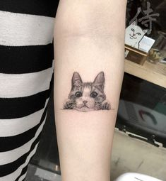 60 Inspiring Cat Tattoos Designs And Ideas For Cat Lovers Find here the best cute cat tattoo ideas for girls and women, cat tattoos pictures cat outline tattoos and cat tattoo meaning Cat Outline Tattoo, Dog Outline, Cute Cat Tattoo, Dog Tattoos, Animal Tattoos, Body Art Tattoos, Tatoos, Kitty Tattoos, Tatuajes Tattoos