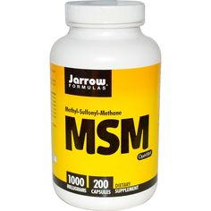 Jarrow Formulas, MSM, Methyl-Sulfonyl-Methane, 1000 mg, 200 Capsules Body Tissues, After Workout, How To Increase Energy, Collagen, Whole Food Recipes, The 100, Recipe List