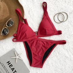 Stroke of Luck Solid Color Bikini Set