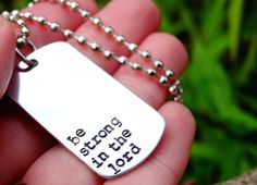 Hand Stamped Dog Tag Necklace For Men Christian by ShesaGemJewelry, $20.00
