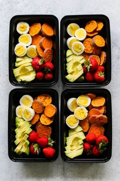 Diet Snacks Breakfast Snack Boxes Meal Prep - Snack boxes served breakfast style with hard-boiled eggs, sweet potato, avocado, and fresh berries. Whole 30 Breakfast, Breakfast Snacks, Breakfast Recipes, Healthy Breakfast Meal Prep, Healthy Drinks, Healthy Snacks, Nutrition Drinks, Diet Snacks, Healthy Smoothies