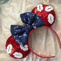 Lilo and stitch inspired mouse ears Disney Ears Headband, Diy Disney Ears, Disney Minnie Mouse Ears, Disney Headbands, Disney Bows, Disney Diy, Disney Crafts, Cute Disney, Disney Stuff