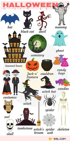 List of useful Halloween vocabulary words in English with pictures and examples. In the United States especially, Halloween is a huge deal and English Verbs, Learn English Grammar, English Vocabulary Words, Learn English Words, English Lessons, Learning English For Kids, Kids English, English Language Learning, English Study