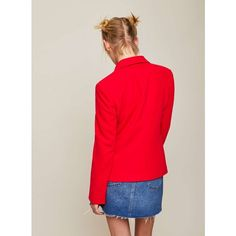 Miss Selfridge Red Military Blazer (£54) ❤ liked on Polyvore featuring outerwear, jackets, blazers, red, miss selfridge jackets, military jackets, military blazer jacket, red blazer and red blazer jacket