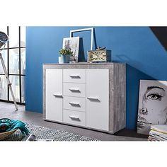 Sideboard, Breite 120 cm in Beton-Optik/weiß im Online Shop von Baur Versand