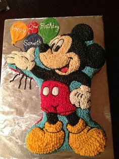 Mickey Mouse Cake - Double layers with Chocolate & Marble cake, Swiss Meringue Buttercream Frosting and Filling - Yelp Pastel Mickey Mouse Niño, Mickey Mouse Cupcakes, Mickey Cakes, Mickey Mouse Clubhouse Birthday, Minnie Birthday, 2nd Birthday, Birthday Ideas, Bolo Mickey, Mickey Party