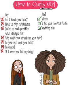 Your hair would be nice straight/ if u want hair like me grow it down to ur waist/ I don't like ur hair but it suits u/ basically here are all the things I do to my straight thin hair that will totally work on urs/ why don't u brush it oh it's too frizzy Curly Hair Jokes, Curly Hair Cartoon, Curly Hair Styles, Natural Hair Styles, Curly Girl Problems, Black Girl Problems, Curly Girl Method, Hair Quotes, Bad Hair
