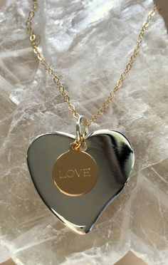 Gold and Sterling Silver Love Heart Necklace by MagicalUniverse on Etsy