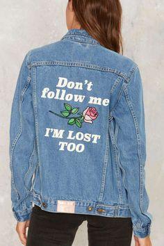 Yeah Bunny Don't Follow Me Denim Jacket - Clothes | Denim | Grunge | Best Sellers | Denim Jackets