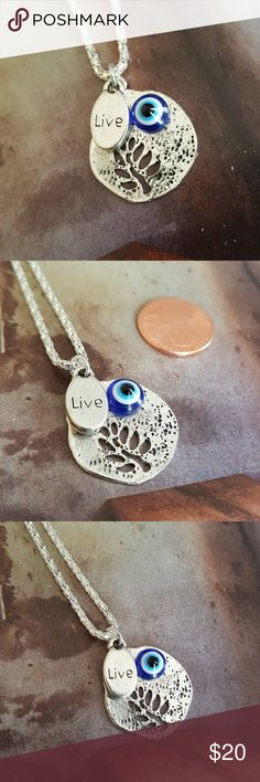 "Live tree of life silver necklace evil eye 16"" Nwt Jewelry Necklaces"