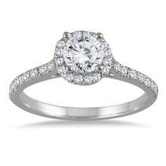 1 Carat Diamond Halo Engagement Ring in 14K White Gold