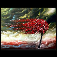 original tree painting blowing wind stars by mattsart on Etsy, $275.00