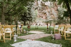 carpets for a boho outdoor ceremony
