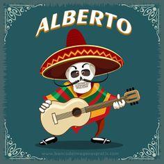 BANCO DE IMAGENES GRATIS: 55 calaveritas de músico con guitarra y sombrero y nombres de hombres para el #DíadeMuertos