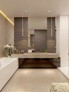 Find the most effective modern bathroom ideas, designs & inspiration to match your style. Browse through images of modern bathroom decor & colours to produce you bathroom design Contemporary Bathrooms, Modern Bathroom Design, Bath Design, Bathroom Interior Design, Bathroom Designs, Contemporary Vanity, Modern Design, Minimal Bathroom, Contemporary Cottage