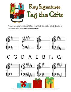 Christmas music theory worksheet for practicing key signatures. Kids just identify the key signature and draw a line to its name. Free printable :)
