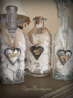 Altered Art Bottle Vintage Bottle Shabby White Bottle by QueenBe Liquor Bottle Crafts, Diy Bottle, Bottle Art, Bottle Lamps, Vodka Bottle, Antique Bottles, Vintage Bottles, Bottles And Jars, Vintage Perfume