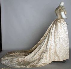 Bustle Wedding Gown, 1880s, side view showing train. Augusta Auctions, November 13, 2013 - NYC