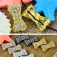 $1.80 2Pcs Side Ways Crystal Rhinestones Pave Bow Tie Bracelet Connector Bead DIY Jewelry