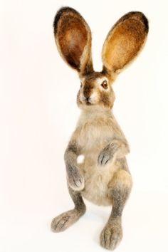 Needle Felted Hare Jack Rabbit Large Soft by YvonnesWorkshop