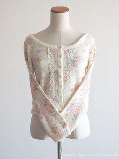 LIZ LISA Floral Wool Sweater Cardigan Dress Hime gyaru Lolita Size0 Japan #LizLisa #Cardigan