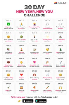 30 Day New Year, New You Challenge (Achieve Your New Year Goals) – Motivation. – New Life New Year Goals, New Year New Me, New Day, Happy New Year 2019, New You Challenge, Happiness Challenge, Thigh Challenge, Plank Challenge, Monthly Challenge