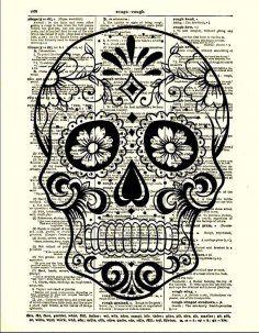 Sugar Skull Art | Dictionary Art Print, Sugar Skull, Halloween Decor