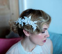 Bridal Hair Vine Accessory.Beaded Leaves and flowers,Romantic.1930s wedding dress.