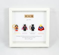 Personalised LEGO Style Superhero Frame - Catwoman, Batwoman, Wonderwoman, Superwoman - gift for someone special - mum- mummy- wife by MakeItExtraSpecial on Etsy