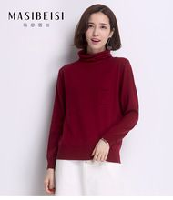 2016 New MASIBEISI Fashion Women Christmas Sweaters 100% Wool Slim Autumn Winter Turtleneck Thick Pullovers Sweater Hot Sale(China (Mainland))