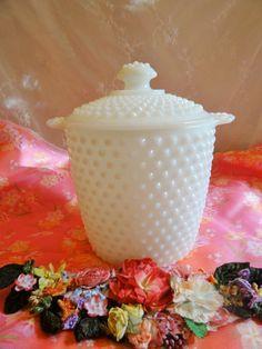 Milk Glass HOBNAIL COOKIE JAR by VintageNestings on Etsy