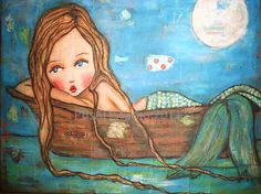 mermaid on a boat 11x14 print by PBsArtStudio on Etsy, $30.00  I love this I just bought it at the Juno beach art fair . I want more of her pieces!!!!