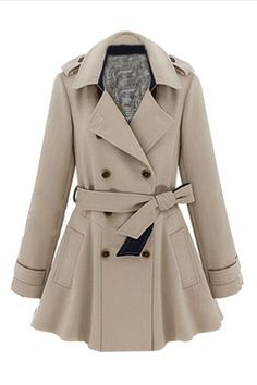 FANCY! ROMWE | Lapel Double Breasted Slim Trench Coat, The Latest Street Fashion