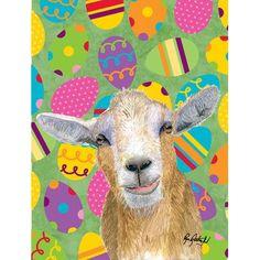 Caroline's Treasures Eggtravaganza Goat Easter 2-Sided Garden Flag