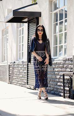 Spring Style, Leather Jacket, Lace Pencil Skirt, Prada Oversized Sunglasses, Strappy Heels, via: HallieDaily