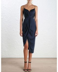 Sueded Silk Plunge Dress, from our Spring 16 collection, in French Navy sueded silk. Draped detail through bodice and skirt. Fully boned bodice with wired plunge neckline and shoestring straps. Centre back zip closure, fully lined Satin Dresses, Silk Dress, Midi Dresses, Formal Midi Dress, Party Dresses, Prom Dress, Gowns, Trendy Dresses, Short Dresses