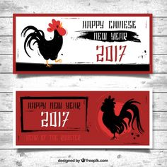 Red banners with ink roosters for chinese new year Free Vector