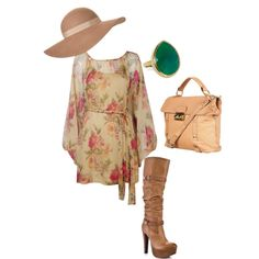 flower, created by christyna-shay on Polyvore.... Like without the boots!