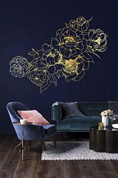 Tag a friend who love it.Comment yay or nay. Wall Stickers Vintage, Flower Wall Stickers, Wall Painting Decor, Wall Paint Colors, Bedroom Murals, Wall Murals, White Kitchen Decor, Room Decor, Wall Decor