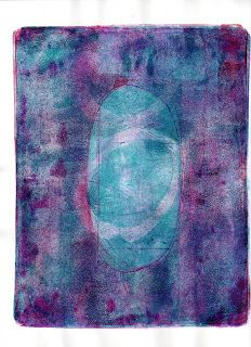From Paper Arts Bulletin: Layers of ghost prints made on a Gelli plate.
