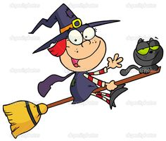 personaje de dibujos animados halloween pequeña bruja - Imagen de stock: 2584747
