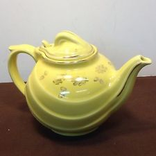 Vintage Canary Yellow HALL 0799 (6) Cup Teapot w/Lid Acorns Gold Trim EPOC