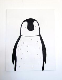 "No. 0011 - Modern Kids and Nursery Art Original Painting - 16"" x 20"" on regular 3/4"" depth canvas - The Penguin"