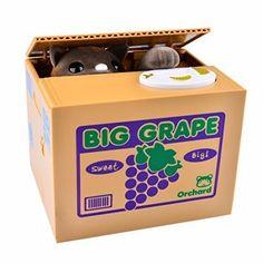 Piggy Bank, YIFAN Creative Cute Stealing Coins Grey Kitty Cat Big Grape Piggy Bank Saving Bank Saving Pot Money Box *** ADDITIONAL DETAILS @ http://www.morebabystuffs.com/store/piggy-bank-yifan-creative-cute-stealing-coins-grey-kitty-cat-big-grape-piggy-bank-saving-bank-saving-pot-money-box/?a=4589