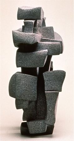 "Abstract Sculpture by Lena Arice Lucas STRUCTURE OF RELATIONSHIP view 4 - coil built / constructed clay, acrylic, 35"" tall x 18""..."