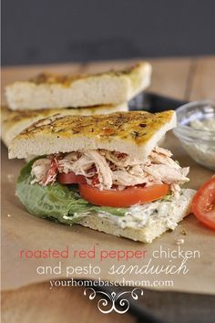 roasted red pepper chicken and pesto sandwich www.yourhomebasedmom.com